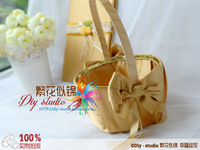 Sunflower wedding flower girl flower basket flower basket candy basket ribbon gold bow
