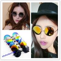 Free Shipping Unisex Vintage Style Mirror Round Lens Sunglasses UV400 Metal Frame