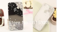 New design transparent phone cover  ,butterfly Beautiful Pearl Phone Case with Diamond for iphone 4 4s
