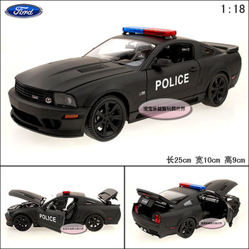 Mustang FORD police car black exquisite alloy car model