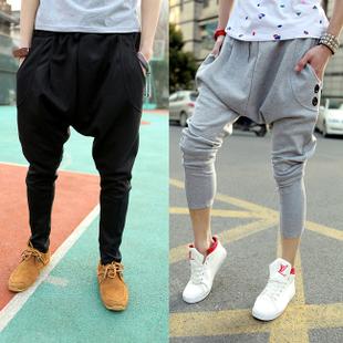 Free shipping plus size fashion male slim casual trousers big drop crotch men's sweatpants dance hip hop harem pants men