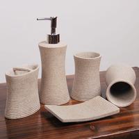 Stone sand stripe bathroom supplies kit five pieces set of bathroom wash set housewarming gift