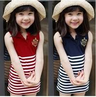 Free Shipping, summer Han edition of children the navy stripe dress  Children's dress