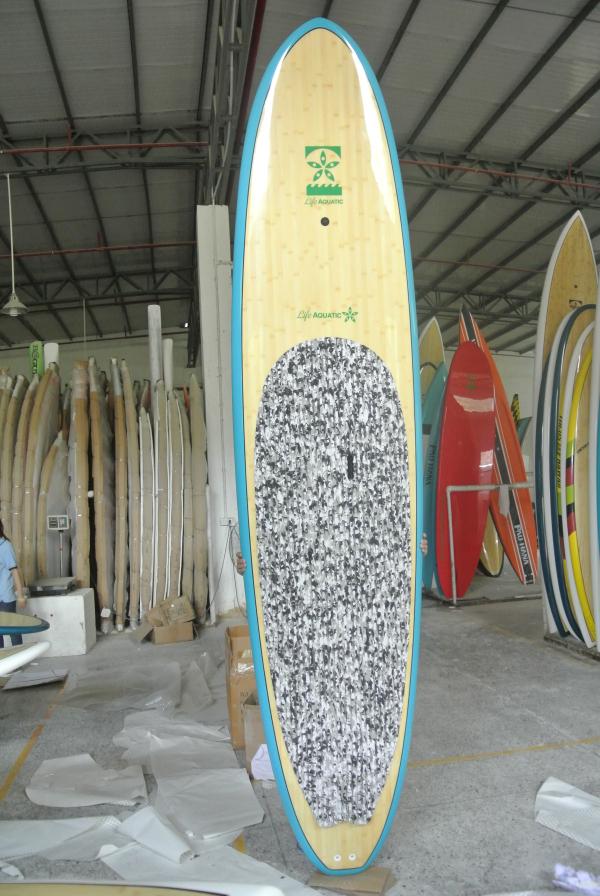 "Free Shipping Epoxy Fiberglass 10"" Bamboo Stand Up Paddle Board / Longboard Surfboard / Including Cardon Paddle,Deck,Leash(China (Mainland))"