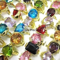 wholesale jewelry lots 10pcs nice womens crystal zircon 18K gold plated rings free shipping