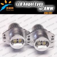 Wholesale price 10sets/lot Powerful led marker light for BMW E90 E91,7000k Xenon white led marker angel eyes,10W led marker bulb