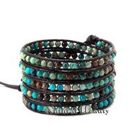 Top Quality Handwork Natural Stone Leather Wrap Woven Bracelet Woven Friendship Bracelet