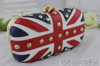 Women's handbag fashion evening bag rivet day clutch skull bags m word flag bags