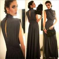 Fashion queen 30030 slim stand collar long elegant design sleeveless formal dress mopping the floor dress one-piece dress