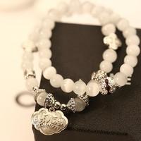 2014  Korean Style Fashionn Crystal Beads Strand Charm Bracelet Jewelry For Women  S025