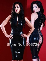 New Style Faux Leather Bodysuit Super Sexy Lingerie Cheongsam Dress Hot Sell Clubwear