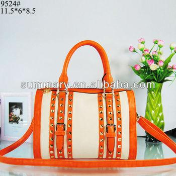 Free Shipping PU Women Handbag Pyramid Rivet Women Tote Bag Wholesale SMW9524