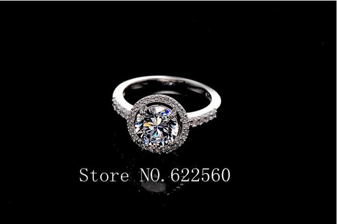Luxury Quality super flash 2 Carat diamond silver high simulation Rings For Women ,Halo Wedding Enagement Ring(China (Mainland))