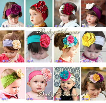 10pcs/lot cute baby flower headbands infant cotton hair band / baby girl head wrap