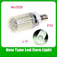 High Quality E14 96 x 3528 SMD LED Corn Light LED Light Bulb (White, 220V, with Lamp Shade)