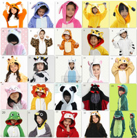 Children Animal Pikachu Dinosaur Lion Tiger Bear Stitch Cat Kigurumi Pajamas Unisex Kids Oneise Winter Fleece Halloween Costume