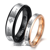 "Fashion Jewelry Stainless Steel Rings Spell color Pattern Stamp ""Forever Love"" Couple Ring Wedding Rings Engagement Rings GJ283"