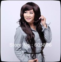 Ladies' fashion long curly syhthetic hair full wig black/dark brown/light brown-Free shipping