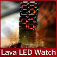 Hot Sale Black silver Lava LED Display Watch Iron Samurai Stainless Steel Watch For Men Women Sports Digital Watch free shipping