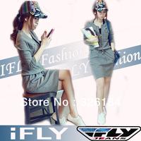Free shipping Women Dress 2013 New Fashion Casual  Personality Zipper Decoration Waist Drawstring Long-sleeved Sport Dress