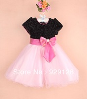 6 Pcs/Lot Black And Pink Kids Princess Dress With Bow Baby Girls Party Dresses Girls Formal Dress Children Weeding dresses,3-8T