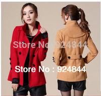 2014 new women's pea coat plus size woolen coat solid color outerwear  N099