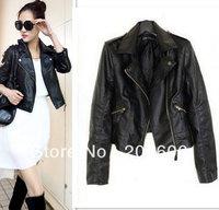 2013 new fashion slim pu leather jacket for women