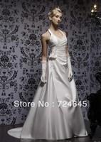 2013 Graceful Slim Fit Halter Appliques  Wedding Bridal Dresses Brildal Dress Gown Evening Prom Dress