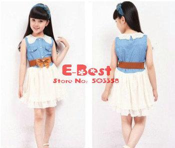 [E-Best]4pcs/lot Summer Sweet dress Kids Sleeveless TUTU dress Baby Girl denim skirt Bowknot waistband one-pieces