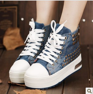 Fashion Women/Junior platform denim canvas stud casual flat sport tennis travel school sneakers shoes