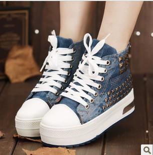 Fashion Women/Junior platform denim canvas stud casual flat sport tennis travel school sneakers shoes