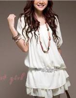 2014 women's mermaid ruffle solid color dress chiffon one-piece shirt 9043