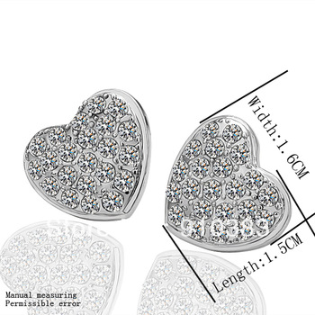 Free Shipping Wholesale Fashion Jewelry,18K Gold Heart Stud Earrings,Made With Zircon,Nickle Free Antiallergic Earring,EGP006