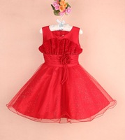 6 Pcs/Lot Red children Princess Dress With Flower Baby Girls Party Dresses Girls Formal Dress Children Weeding dresses 3-8T
