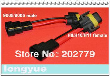 longyue factory sale 50pcs 9005/9006 TO H8/H10/H11 Headlight Pigtail Plug & Play harness socket adaptor GTI VW GOLF 10cm wire
