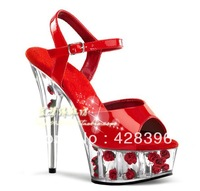 Free shipping!(a sale) Hot sale 2013 new 15cm high heel sandals waterproof Taiwan red roses bridal shoes rose red