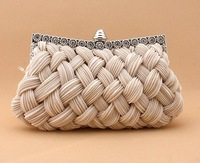 2013 fashion handwoven women's evening bag with A class rhinestone bridal bag small chain bag day clutch bag free shipping