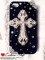 2013 black Cross design finshed cover case for Iphone 4 4s 5 customs made case free shipping