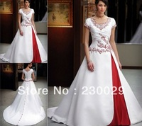 Free Shipping Graceful A-line Embroidery Mix Color Short Sleeve Satin Wedding Dress JLX-2
