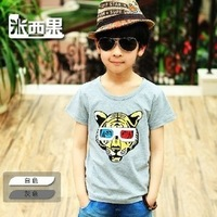 2013 hot Children High Quality Boys Tiger eye T Shirt Kids Tops Summer Wear Short Sleeve Clothing white and gray