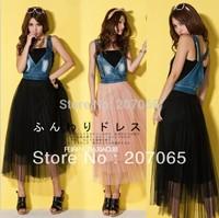 Wholesale - Free shipping Gauze pleated lace denim strap vest dress ,women dress,ladies 'dress 3 colour size S,M,L