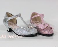 free shipping Children shoes spring 2013 silver female child sandals child high-heeled Latin dance shoes t-shoes