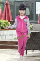 free shipping New arrival spring 2013 children's clothing female big boy child velvet cardigan child sports set