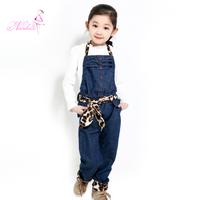 free shipping Balabala spring girls clothing new arrival 2013 child jeans bib pants trousers