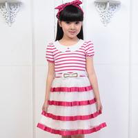 free shipping Balabala 2013 summer child girls clothing children's clothing stripe one-piece dress performance dress