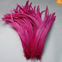 50Pcs Rose Red Color Beautiful 12-14inches/30-35cm Rooster Tail For Costume&Mask