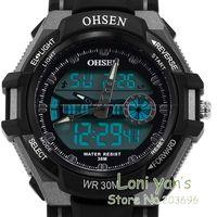 2014 OHSEN    LCD Dual Time Mens Ladies Sport Digital Date Day Alarm Black Rubber Watch