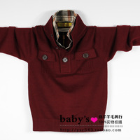 Child thickening sweater twinset shirt collar male child pullover wool cashmere sweater