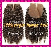freeshipping Deep Curly 4*4Virgin Brazilian Human hair lace base closure remy hair available