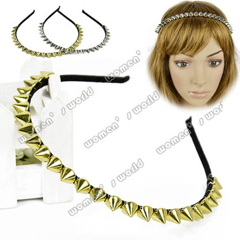 Golden/ Silver New Fashion Women Lady Headband Bow Spike Rivets Studded Band Hair Band drop shipping 8149